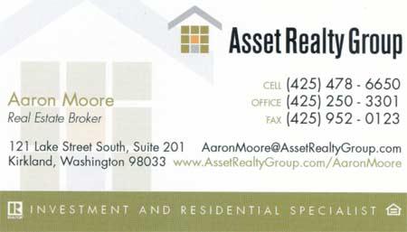 Realtor Aaron Moore 425-478-6650