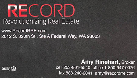 Amy Rinehart Real Estate broker 253-861-5540