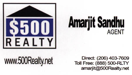 Amarjit Sandhu Real Estate 206-403-7609