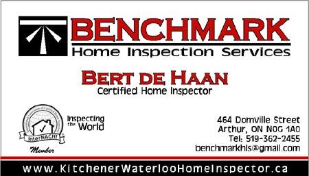 Benchmark Home Inspection Bert de Haan  benchmarkhis@gmail.com  Ontario, Canada  (519) 362-2455
