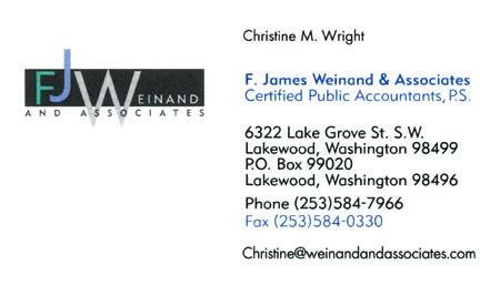 Christine Wright (253) 584-7966  Weinand & Associates