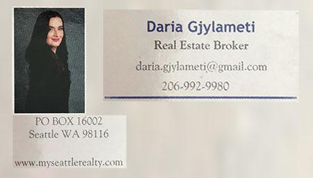 Daria Gjylameti Real Estate Broker 206-992-9980