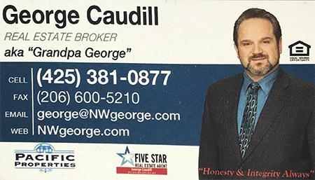 George Caudill    Real estate broker  425-381-0877