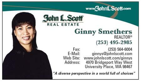 Realtor Ginny Smethers John L Scott University Pl(253) 495-2985