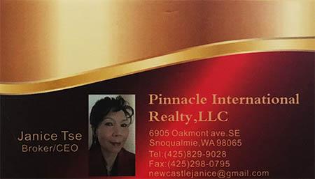 Janice Tse (425)829-9028 Real Estate Broker