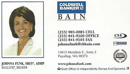 Realtor Johnna Funk (253) 841-9100 johnnafunk@cbbain.com