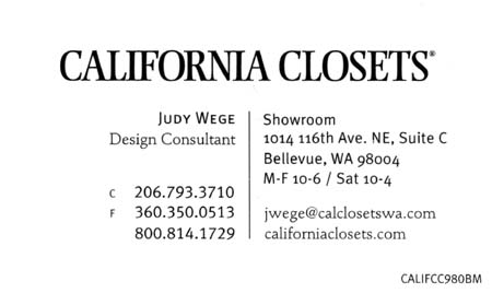 Judy Wege California Closets  