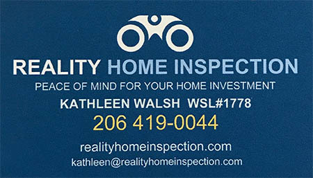 Kathleen Walsh Inspector 206-419-0044 SOPHI Certified Home Inspector