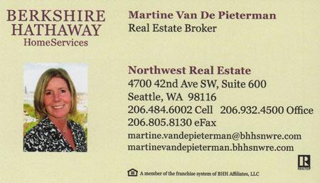 Martine Van De Pieterman Realtor 206-484-6002