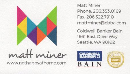 Matt Miner 206-353-0169 Realtor