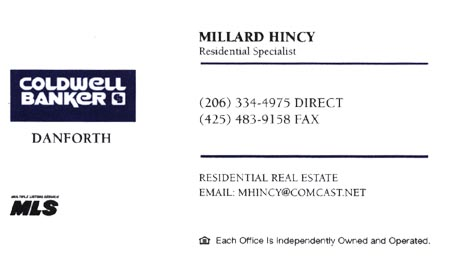 Real Estate Agent Millard Hincy 206-334-4975