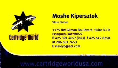 Moshe Kipersztok Cartridge World Issaquah 425- 391-4657 www.cartridgeworld.com
