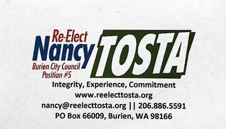 Nancy Tosta Burien-Council Member 206-886-5591