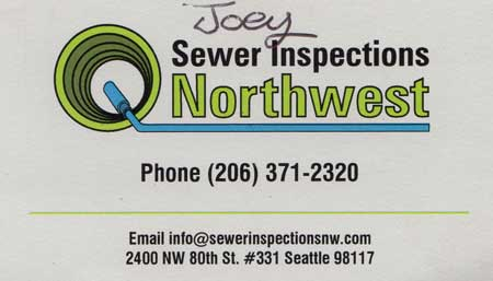 Northwest Sewer Inspections 206-371-2320
