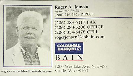 Roger A Jensen Real estate broker 206-354-5478