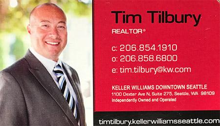 Realtor Tim Tilbury (206) 854-1910