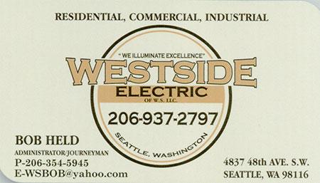 Westside Electric (206) 937-2797  Bob Held