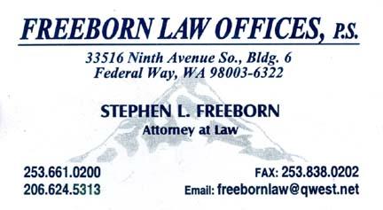 Attorney Stephen Freeborn (253) 661-0200